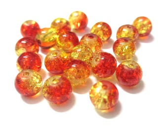 20 Red and yellow 6mm Crackle glass beads