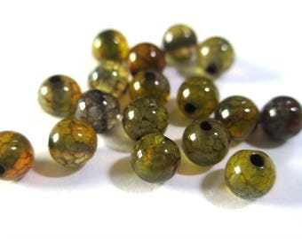 10 pearls color brown/green 4mm (G-04) dragon vein agate Crackle