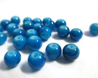 20 speckled Black 4mm blue beads