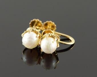 14k 6mm Pearl Claw Set Screw Back Earrings Gold