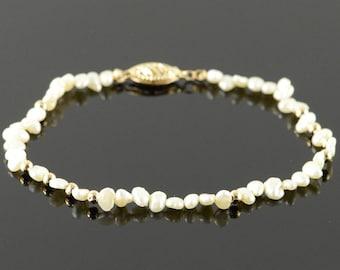 """14k 3.5mm Freshwater Pearls Ball Bracelet Gold 7"""""""