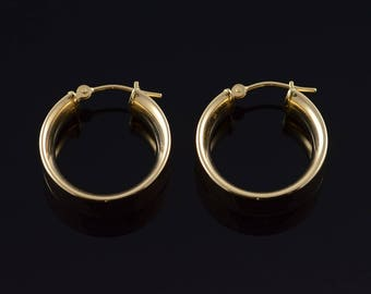 14k 20mm Thick Hollow Hoop Circle Earrings Gold