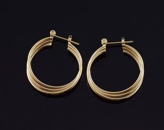 14k 28.5mm Tiered Tube Twist Hoop Earrings Gold