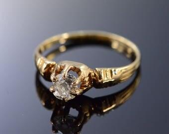 14k Victorian 0.48Ct H / VS2 Round Diamond Engagement Ring Gold