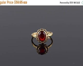 Big SALE Retro Ruby* Oval Scalloped Bezel Band Ring Size 2.5 Gold