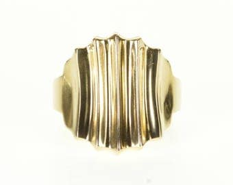14k Concave Curved Ridged Abstract Statement Ring Gold