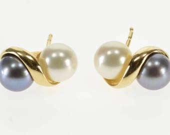14k Two Tone WHite Tahitian Pearl Inset Wavy Stud Earrings Gold