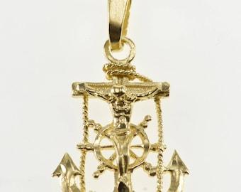 14K Nautical Motif Anchor Ships Wheel Crucifix Cross Pendant Yellow Gold