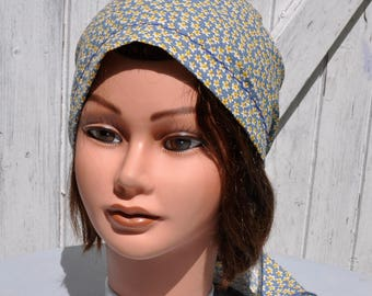Bandana headscarf preformed cotton scarf printed floral tones of blue and yellow - one size
