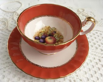 Aynsley Bone China Tea Cup and Saucer, Orange with Hand Painted Orchard Fruit and Gold Trim