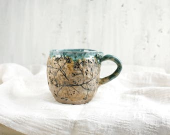 teal blue ceramic cup handmade coffee cup floral mug for tea teal cup with plants gardener gift mug with plants