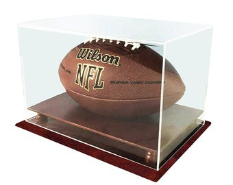 decomil uv protection football display case holder all 4 sides visible solid wood