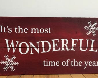"""Rustic Reclaimed Wood Sign - """"It's the most WONDERFUL time of the year"""" Christmas sign. 21x11"""