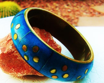 "Blue Vintage Bracelet Brass Hand Rubbed Dyed Wood Bangle Cerulean Patina Handmade India 1"" Wide Retro Jewelry Affordable Holiday Gift"