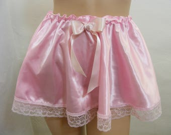 pink silky satin petticoat  skirt slip sissy kawaii adult baby cosplay fancydress waist 28 -30 inches , b43