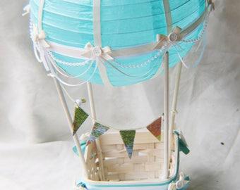 Hot air balloon decoration - IVORY/WHITE/LIGHTBLUE/Map bunting / Hot air Balloon Nursery Decoration // Hot Air Balloon Lamp