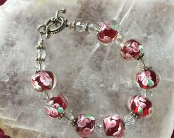 Red Lampwork Bead Bracelet