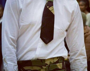 "46"" Long Green Khaki Camouflage Cummerbund, Wedding Dress Cummerbund, Mens Clothing"