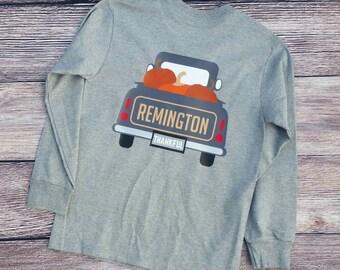 Personalized Boy/Girl Fall Pumpkin Truck Shirt, Halloween, Thanksgiving