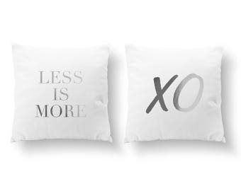 SET of 2 Pillows, Less Is More Pillow, XO Pillow, Livingroom Decor, Throw Pillow, Bedroom Pillow, Cushion Cover, Gold Decorative Pillow