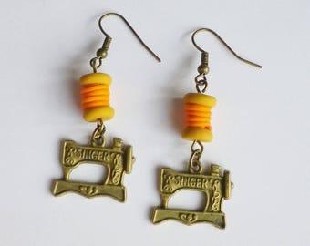 Earrings high fashion chic: machine sewing bronze orange yarn