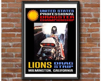 24x32 Size - Lions US Professional Dragster Championship Event Poster – Vintage Drag Racing