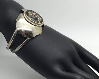 Alpaca Silver Abalone Inlay Cuff Bangle Bracelet Open Work Made In Mexico Mexican Southwestern