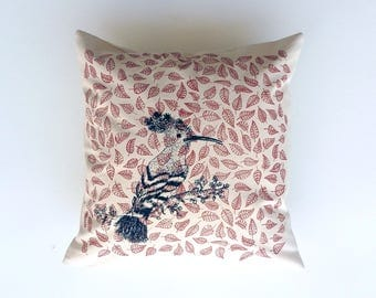 Cushion hoopoe screen print 40 x 40 cm