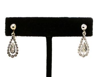 14k White Gold Diamond Dangle Drop Clip-on Earrings - 25 mm drop - .10 ct. total