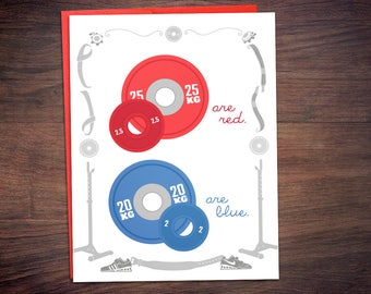 25s Are Red Weightlifting Valentines Day Card - CrossFit Gym Love Anniversary Greeting Card