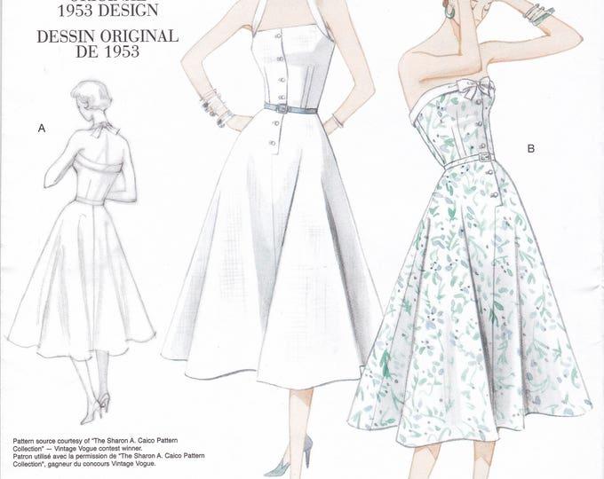 FREE US SHIP Vogue 2961 Vintage Retro 1950s 50s Reproduction Dress Halter Strapless Size 4 6 8 10 Bust 29.5 30.5 31.5 32.5