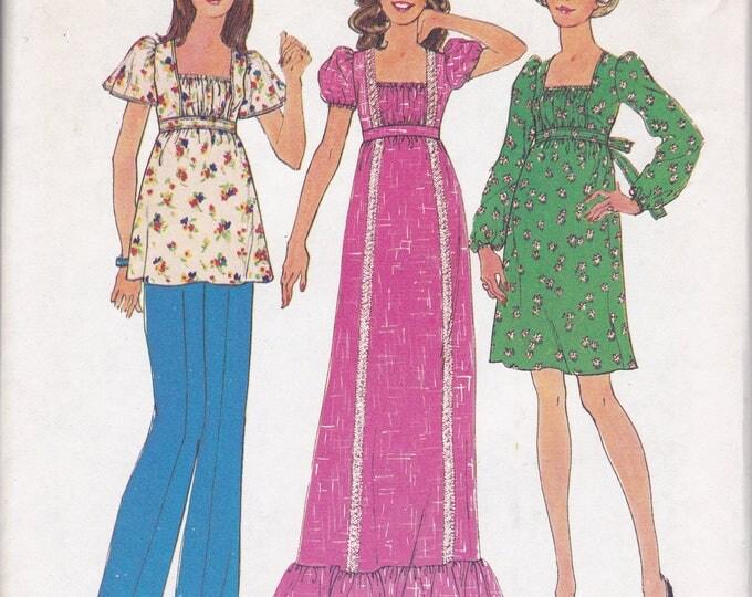 FREE US SHIP Simplicity 6889 Vintage Retro 1970's 70's Sewing Pattern Bohemian Top Pants Dress Maxi Uncut Size 10 12 Bust 32.5 34 uncut