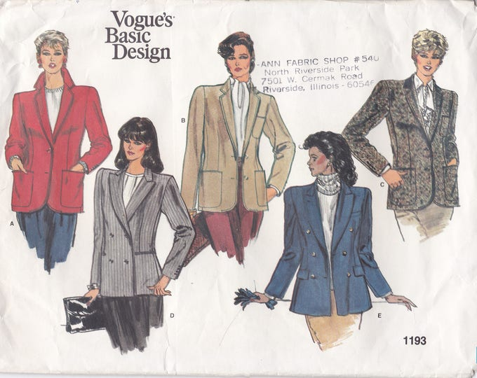Free Us Ship Sewing Pattern Vogue 1193 Vintage Retro 1980's 80s Basic Design Single Double Breasted Jacket Size 12 Bust 34 Factory Folded