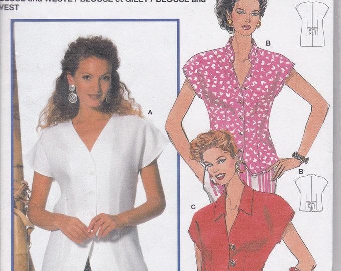 FREE US SHIP Burda 4047 Retro 1990s 90's Top Blouse  Size 10 12 14 16 18 20  Uncut Bust 32 34 36 38 40 42  Sewing Pattern