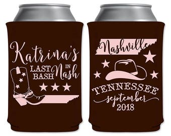 Personalized Country Bachelorette Party Favors Custom Beer Can Coolers Beverage Insulators | Last Bash In Nash Tennessee | READ DESCRIPTION