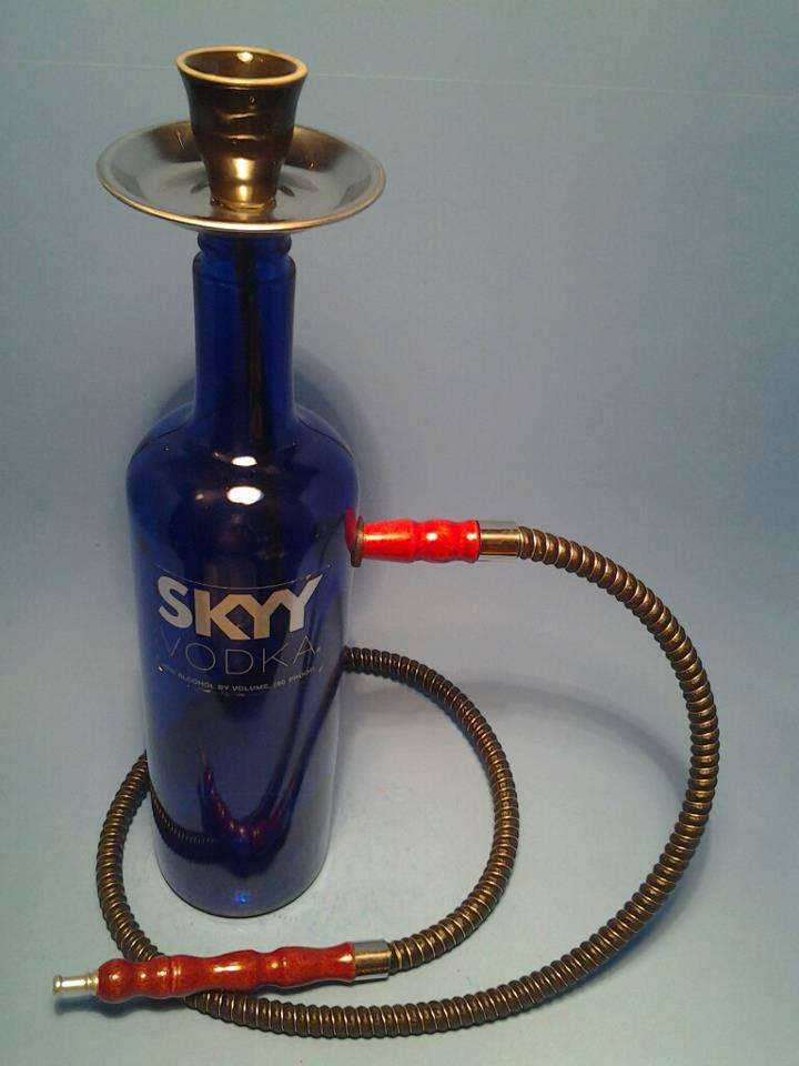 Custom Hookah Pipes: Hookah Pipe Skyy Vodka Water Pipe W/ Hose Coal Tongs