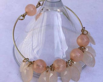 Peach Bangle Bracelet Faceted Beads
