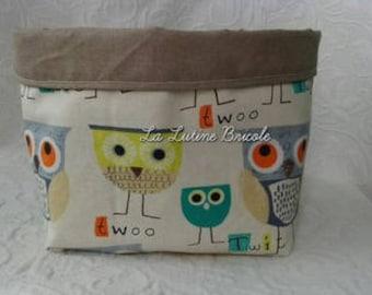 Basket pattern owls fabric