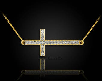 14K Gold Sideways Cross Diamond Necklace (yellow, white, rose gold)
