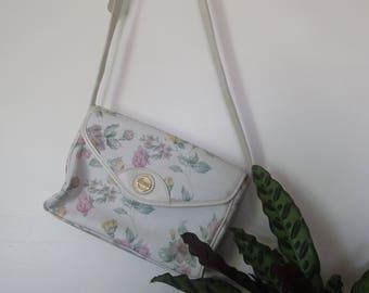 Michael Stevens vintage floral handbag/ floral purse/ white handbag