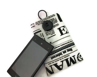 pillow case, cell phone case, sunglasses, black and white printed imitation newspaper