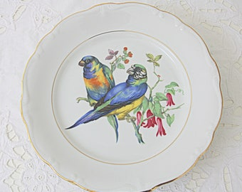 Set of Two Beautiful Vintage Dinner Plates with Bird Decor by Johann Haviland, Bavaria