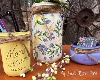 Mason Jar Spring Desk Set-Desk Set-flower Mason Jar Office-Desk Organizer-Mason Jar Office Set-Office -Desk Decor-Desk Set-business card jar