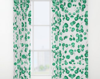 Window Curtains Green Lily Pads Leaves Leaf Botanical Watercolor Pattern Drapes