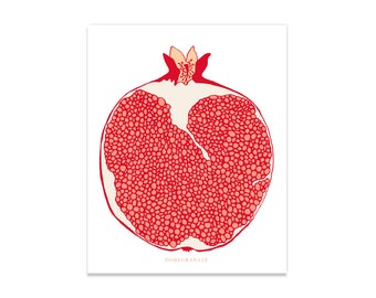 "Pomegranate Art Print, 8x10, Fruit Art Print, Hand-drawn Fruit , Fruit Illustration, Botanical, Fruit Art, ""Pomegranate"""