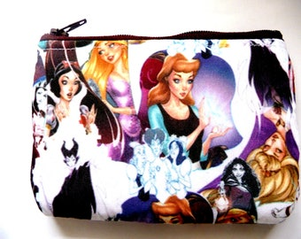New! Pouch with princess and villains made from childrens fabric