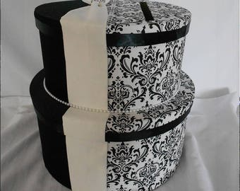 Black and White Madison Damask with Champagne Wedding Money Gift Card Box Holder