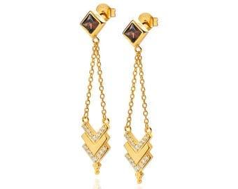 CUBIC ZIRCONIA earrings, chain earrings, Tiny chain earrings -  large earrings, dainty earrings, minimal jewelry