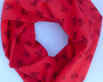 Red Mickey Mouse Head Single Loop Infinity Scarf