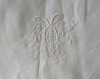 Antique French Linen Square Pillowcase with monogram J A